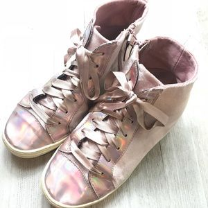 Justice Pink High-Tops Lace Up Sneakers For Girls